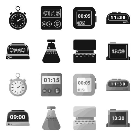 Vector illustration of clock and equipment sign. clock and count vector icon for stock.  イラスト・ベクター素材