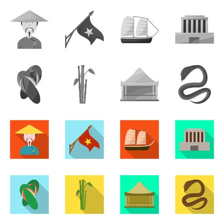 Vector design of vietnam and traditional icon. Set of vietnam and culture stock symbol for web.