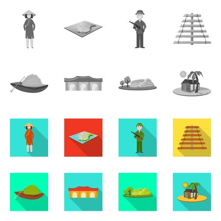 Isolated object of travel and country icon. Collection of travel and asia stock vector illustration.