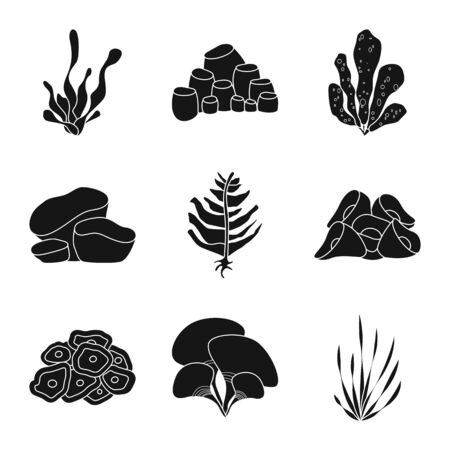 Vector illustration of decoration and wildlife logo. Collection of decoration and aquarium stock vector illustration. Illustration