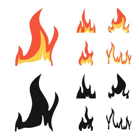 Vector illustration of bright and dangerous sign. Collection of bright and wildfire stock symbol for web. Stock Vector - 132229193