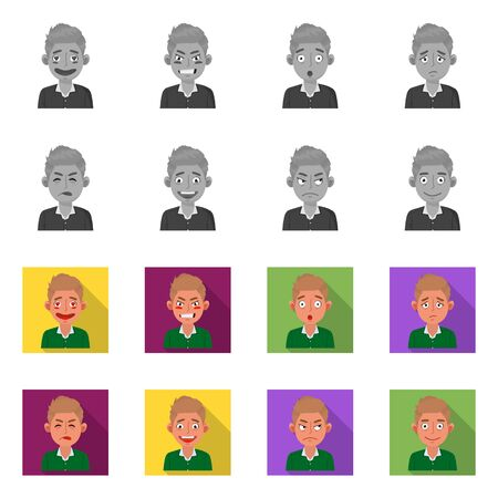 Vector illustration of face and boy sign. Set of face and expression stock vector illustration. Illustration