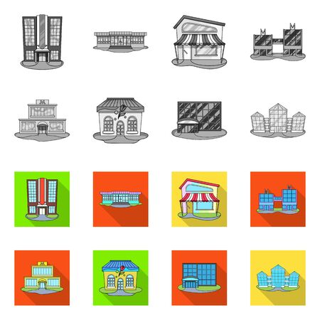 Isolated object of supermarket and building sign. Set of supermarket and local vector icon for stock.