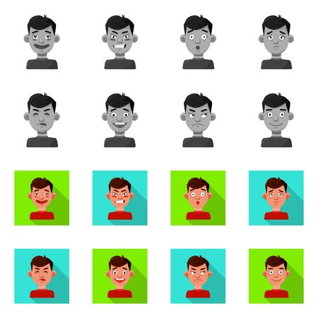 Isolated object of face and boy logo. Set of face and human vector icon for stock.