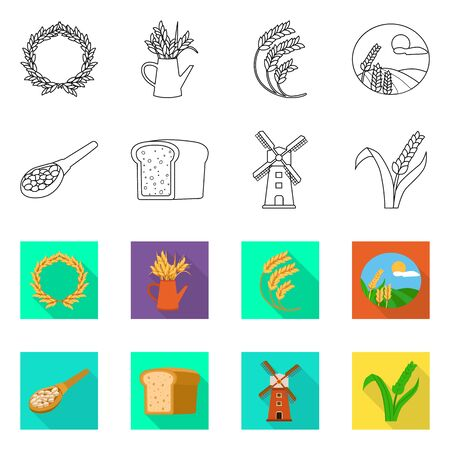 Vector design of grain and harvest symbol. Set of grain and agriculture stock symbol for web.  イラスト・ベクター素材