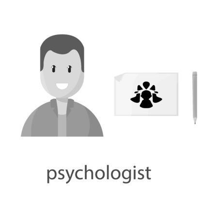 Vector illustration of psychologist and therapy sign. Collection of psychologist and psychology vector icon for stock.
