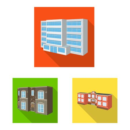 Vector design of facade and housing symbol. Collection of facade and infrastructure stock vector illustration. Banque d'images - 132351201