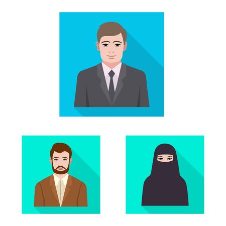 Vector illustration of profile and portrait sign. Set of profile and profession stock symbol for web.