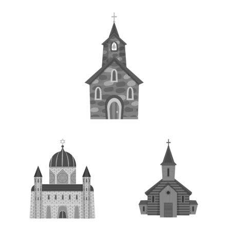 Vector illustration of architecture and faith sign. Set of architecture and traditional stock symbol for web. Ilustração