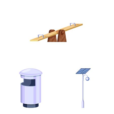 Vector design of landscape and park icon. Set of landscape and nature stock vector illustration. Фото со стока - 132397554