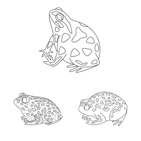 Vector illustration of amphibian and animal icon. Set of amphibian and nature stock vector illustration.