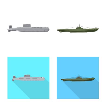 Vector design of war and ship. Set of war and fleet stock symbol for web.