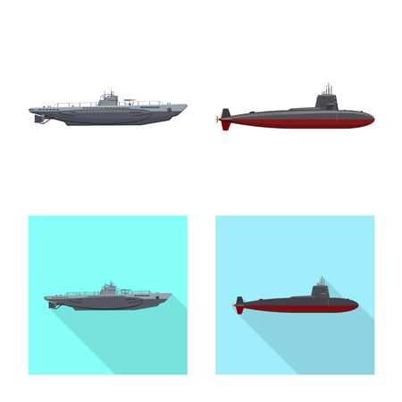 Vector design of war and ship . Set of war and fleet stock vector illustration. Illusztráció