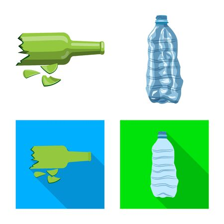 Isolated object of refuse and junk  . Set of refuse and waste stock vector illustration.