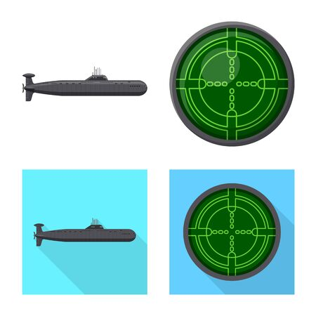 Isolated object of war and ship icon. Set of war and fleet stock vector illustration. Illusztráció