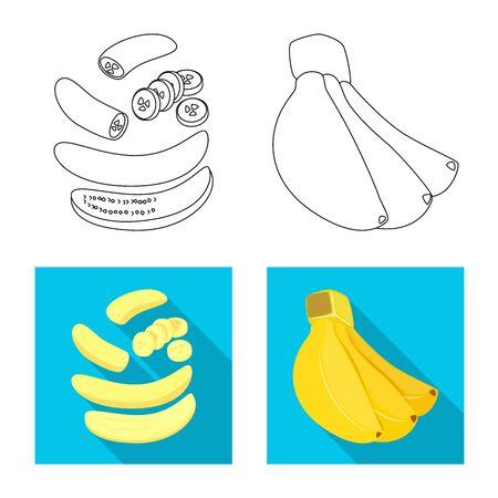 Vector design of natural and vegetarian symbol. Collection of natural and eating stock symbol for web. Çizim