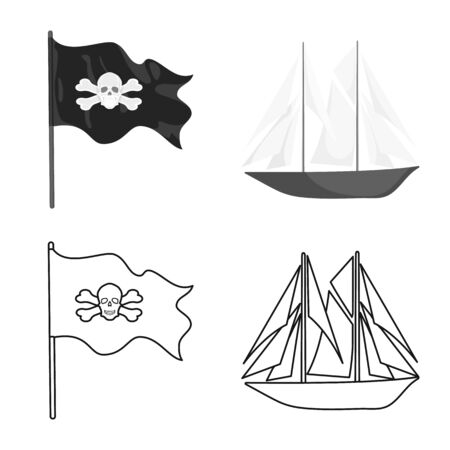 Vector design of travel and attributes. Set of travel and seafaring vector icon for stock.