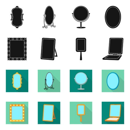 Isolated object of reflect and piece symbol. Collection of reflect and furniture stock symbol for web. Vettoriali