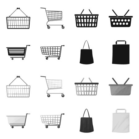 Vector design of pushcart and cart sign. Set of pushcart and market vector icon for stock.