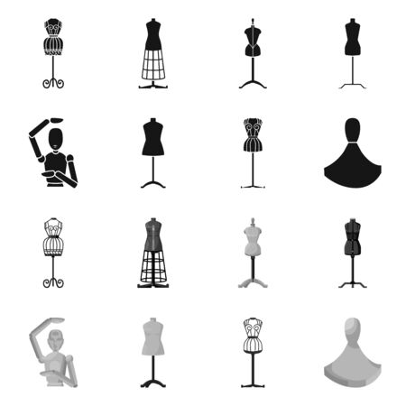 Vector design of mannequin and fashion sign. Collection of mannequin and atelier vector icon for stock.