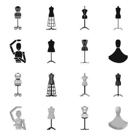 Vektordesign von Schaufensterpuppe und Modezeichen. Sammlung von Schaufensterpuppen und Ateliervektorsymbolen für Lager. Vektorgrafik