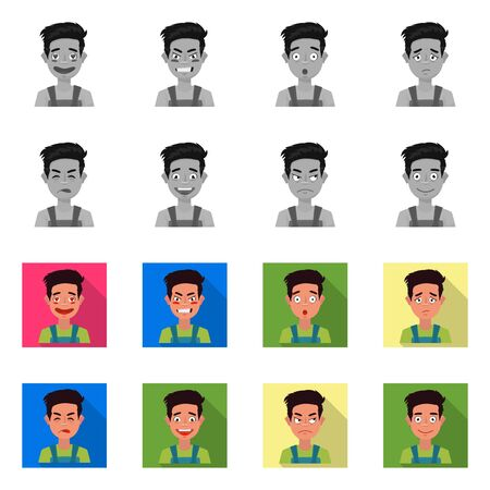 Vector design of face and boy sign. Collection of face and expression stock vector illustration.