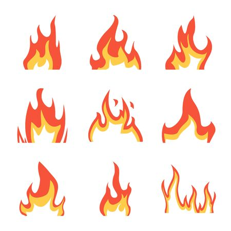 Isolated object of fire and red sign. Set of fire and campfire vector icon for stock.