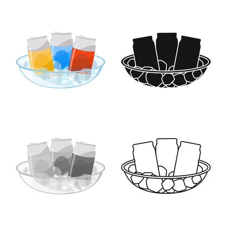 Vector illustration of bottle and soda symbol. Set of bottle and aluminum stock symbol for web.