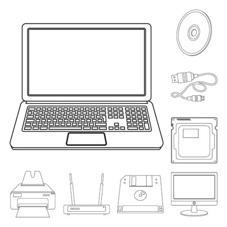 Vector illustration of laptop and device sign. Collection of laptop and server stock vector illustration.