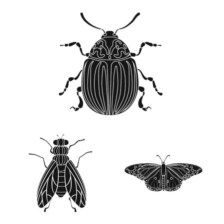 Vector design of insect and fly icon. Set of insect and element stock symbol for web.