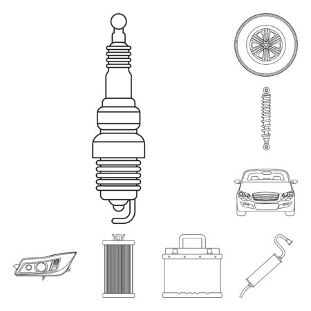 Isolated object of auto and part icon. Set of auto and car vector icon for stock.