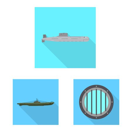 Isolated object of military and nuclear icon. Set of military and ship stock vector illustration.