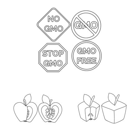 Vector design of genetic and science logo. Collection of genetic and organic stock vector illustration.