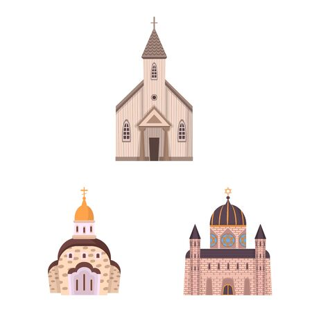Vector illustration of religion and building icon. Set of religion and faith stock symbol for web.