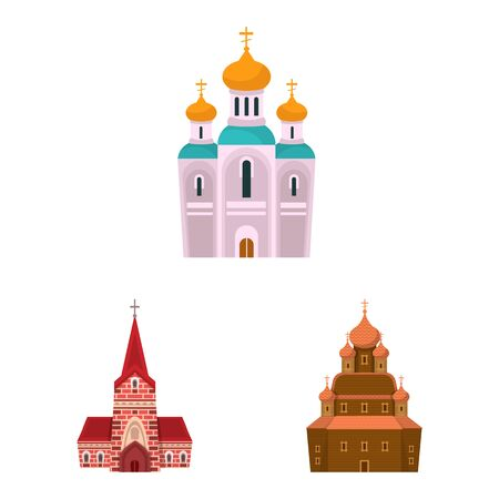Vector illustration of religion and building sign. Collection of religion and faith vector icon for stock. 矢量图像