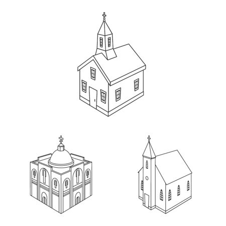 Vector design of architecture and building symbol. Collection of architecture and clergy stock vector illustration.
