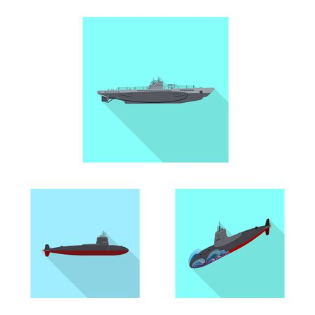 Isolated object of military and nuclear symbol. Collection of military and ship vector icon for stock.