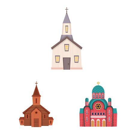 Vector illustration of religion and building symbol. Set of religion and faith stock vector illustration. Ilustração