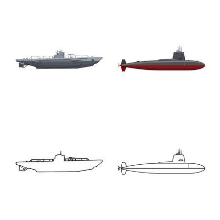 Vector design of war and ship. Set of war and fleet stock vector illustration. Illusztráció