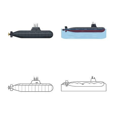 Vector design of war and ship. Set of war and fleet vector icon for stock.