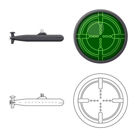 Vector illustration of war and ship icon. Set of war and fleet stock symbol for web. Illusztráció