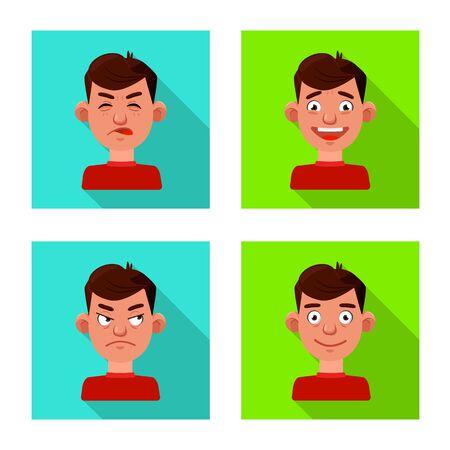 Vector illustration of face and boy symbol. Set of face and human stock vector illustration.