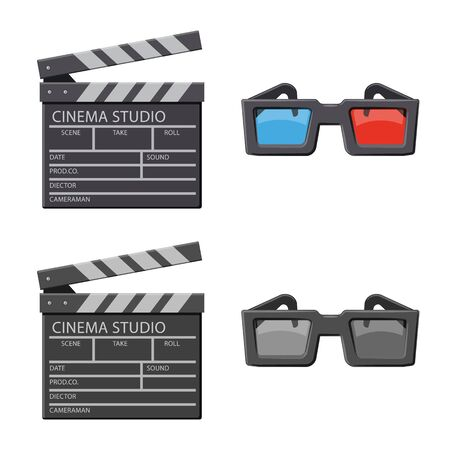 Vector illustration of television and filming logo. Collection of television and viewing vector icon for stock.