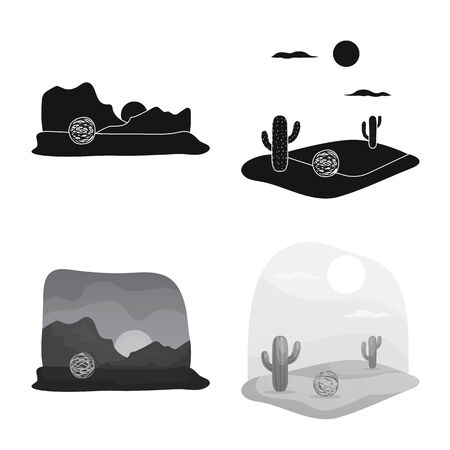 Vector design of landscape and nature icon. Set of landscape and environment stock vector illustration. 일러스트