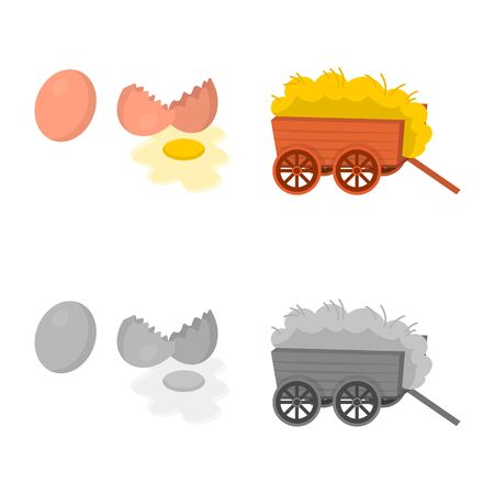 Vector design of countryside and plant symbol. Set of countryside and farming vector icon for stock.