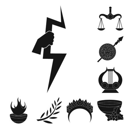 Vector illustration of religion and myths icon. Set of religion and greek stock vector illustration.