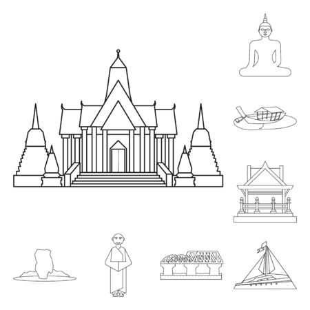 Vector illustration of landmark and culture symbol. Collection of landmark and tourism stock symbol for web.
