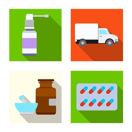 Vector design of pharmacy and hospital sign. Collection of pharmacy and business vector icon for stock.  イラスト・ベクター素材