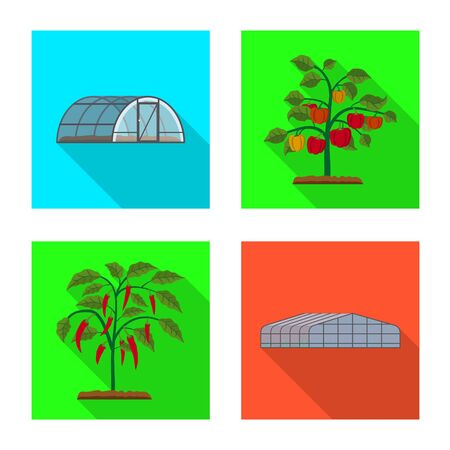 Vector design of greenhouse and plant symbol. Collection of greenhouse and garden stock symbol for web.