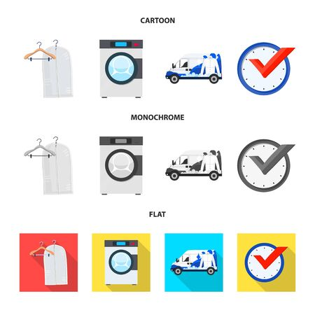 Isolated object of laundry and clean sign. Set of laundry and clothes stock symbol for web. Illustration